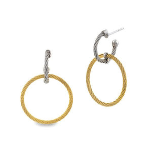 ALOR Classique 18K White Gold, Yellow & Grey Cable Earrings 03-34-S632-00