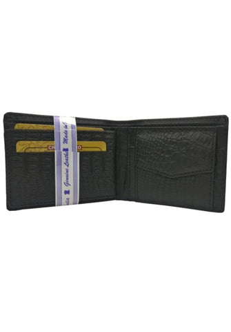 BLACK CROCODALE PRINT LEATHER WALLET