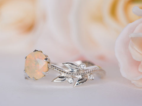 Opal and Diamond Leaf Ring