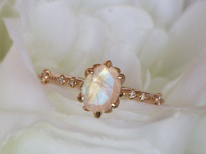 Moonstone and Diamond Floral Ring