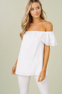 Listicle Off Shoulder Top With Layered Shoulder Petals