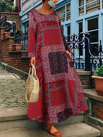 Women Bohemian Cotton Side Pockets Long Sleeve Dress - Red 16