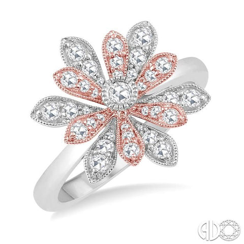 1/2 ct Floral Accent Rose Cut Diamond Fashion Ring in 14K White and Pink Gold