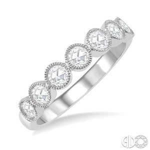 1/2 ct Jointed Discs Rose Cut Diamond Stack Band in 14K White Gold