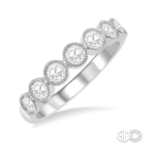 1/3 Ctw Jointed Discs Rose Cut Diamond Stack Band in 14K White Gold