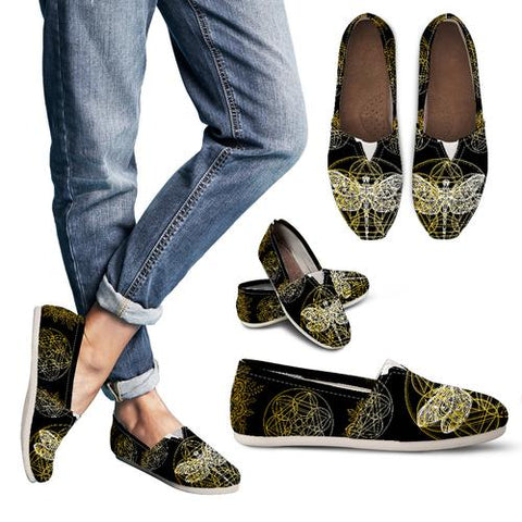 BLACK AND GOLD DRAGONFLY GEO WOMEN'S SLIP ON
