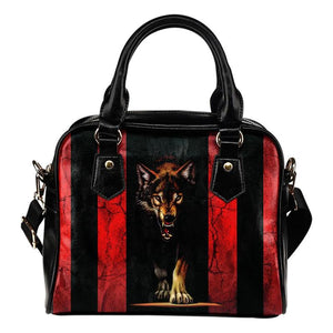 HANDMADE RED & WHITE STRIPES WOLF SHOULDER HANDBAG