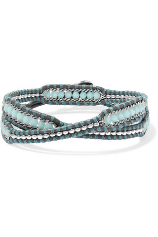 CHAN LUU Crystal-embellished leather wrap bracelet