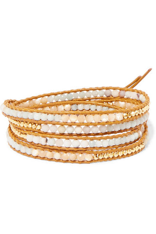 CHAN LUU Leather, gold-plated and amazonite wrap bracelet