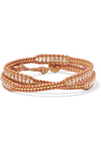 CHAN LUU Leather and gold-tone beaded wrap bracelet
