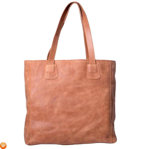 Simple Brown Leather Tote