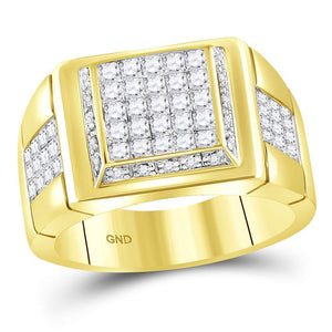 YELLOW GOLD MENS PRINCESS DIAMOND SQUARE CLUSTER RING