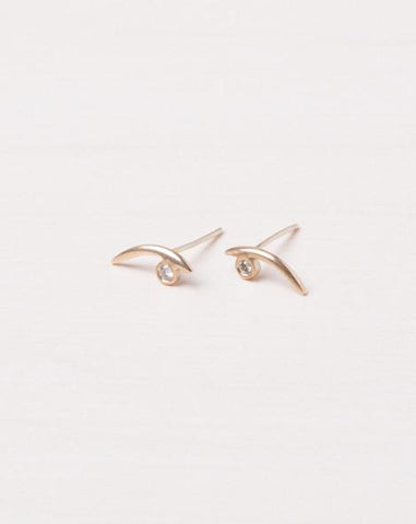Gold Arc White Diamond Earrings