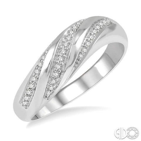 1/6 ct Twisted Cutwork Round Cut Diamond Fashion Ring in 10K White Gold