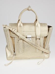 Nude Platinum Shark Embossed Leather Medium Pashli Satchel Bag