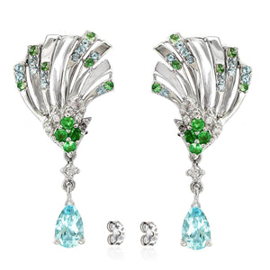 Women's Earrings with Sky Blue Topaz, Green Tsavorite, Premium Cubic Zirconia in Rhodium plated 925 Sterling Silver