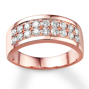 Men's Diamond Band 1-1/2 ct tw Round-cut 14K Rose Gold