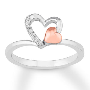 Diamond Heart Ring 1/20 cttw Round-cut Sterling Silver/10K Gold