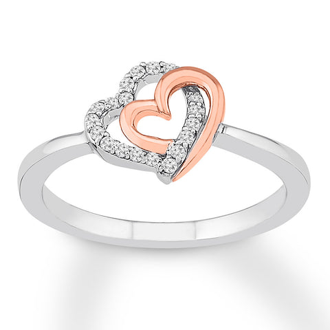 Diamond Heart Ring 1/10 cttw Round-cut Sterling Silver/10K Gold