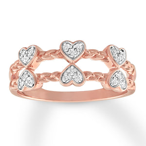 Diamond Heart Ring 1/20 ct tw Round-cut 10K Rose Gold
