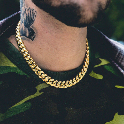 Miami Cuban Link Choker (12mm) in Yellow Gold