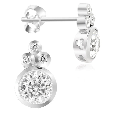 LENYA ETERNAL made with SWAROVSKI ZIRCONIA Earrings in 925 Sterling Silver Rhodium Plated