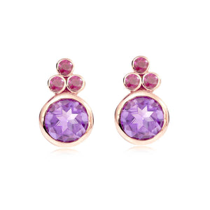 Pink Gold Plated Earring with Amethyst and Rubies
