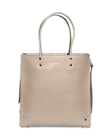 MOCHA AZZI LEATHER TOTE BAG