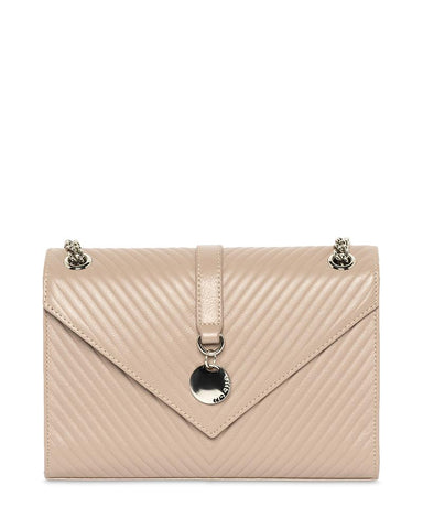 MOCHA CHEVRON ENVELOP LEATHER CROSSBODY BAG