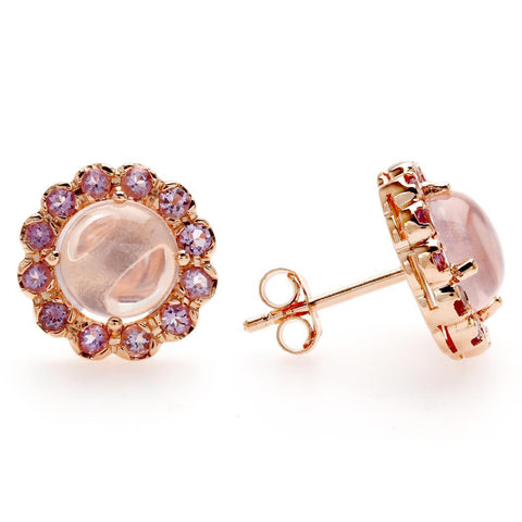 Pink Gold Plated Stud Earrings with Rose Quartz