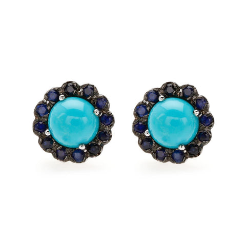Black Rhodium and Rhodium Plated Silver Earring featuring Blue Turquoise and Blue Sapphire