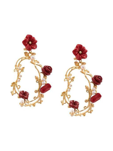 Floral Ceramic/Gold Hoop Earrings