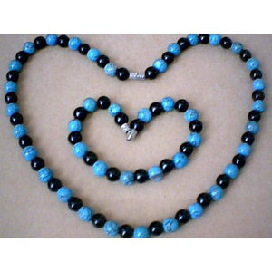 SPLENDID & GENUINE 8MM TURQUOISE & BLACK AGATE SET