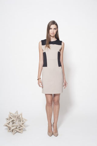 GREENWICH DRESS - TAUPE/BLACK