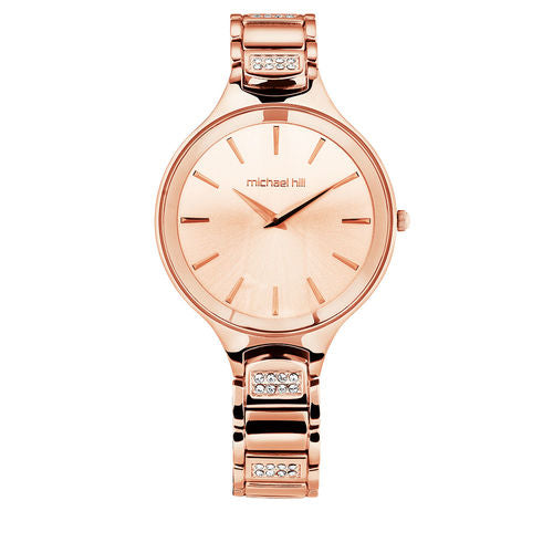 Ladies' Watch With Crystals In Rose Tone Stainless Steel