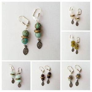 Gemstone and diamond earrings