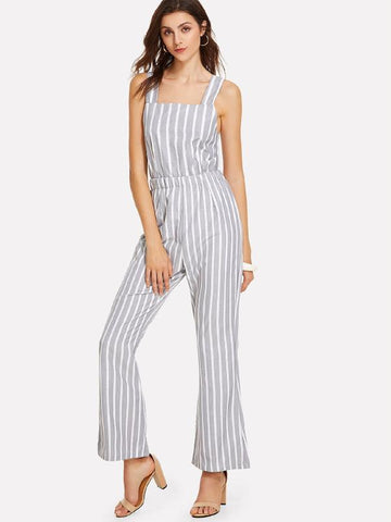 GREY & WHITE STRIPED TIE-BACK JUMPSUIT