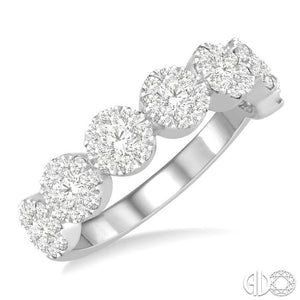 1 ct Jointed Circular Mount Lovebright Diamond Cluster Ring in 14K White Gold