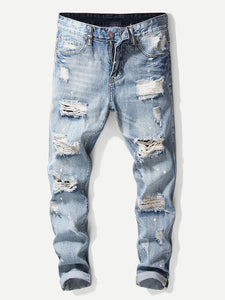 Guys Destroyed Plain Jeans
