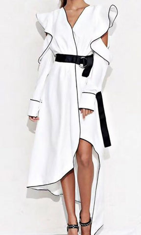 IN MY PENTHOUSE WHITE BLACK LONG SLEEVE RUFFLE CUT OUT ARMS OPEN BACK BELTED WRAP HIGH LOW MAXI DRESS