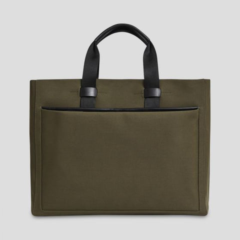 TROUBADOUR STOWAWAY TOTE CANVAS LEATHER KHAKI