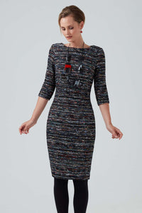 BLACK AND MULTI-COLOURED TWEED DRESS WITH 3/4 SLEEVES - ANGELA