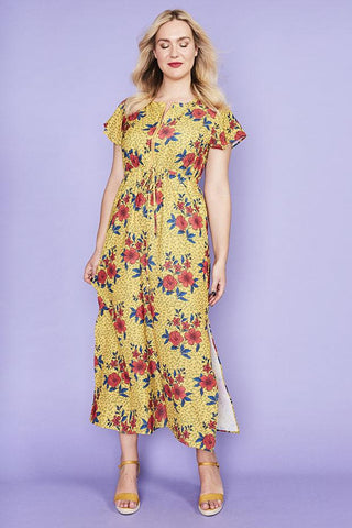 Gina Yellow Floral Maxi Dress