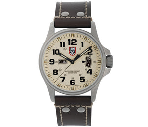Luminox Field Time/Date Series No.1827 42mm Stainless Steel Case and Brown Leather Strap with Ivory Dial | Luminox