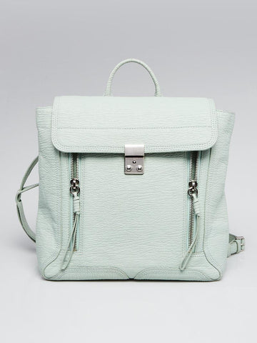Sage Shark Embossed Leather Pashli Backpack Bag