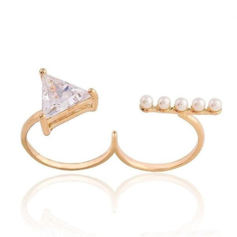 Cubic Zirconia - Plated Dual Finger Ring