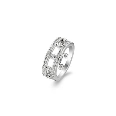 Sterling Silver and Cz Ti Sento split band Ring