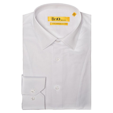 Brio Men's White Solid Button Down Dress Shirt with Checkered Center