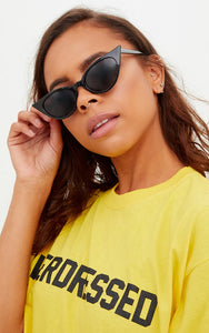 BLACK EXTREME CAT EYE SLIM RETRO SUNGLASSES