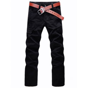 Zip Fly Straight Leg Cargo Pants with Pockets - Black 28